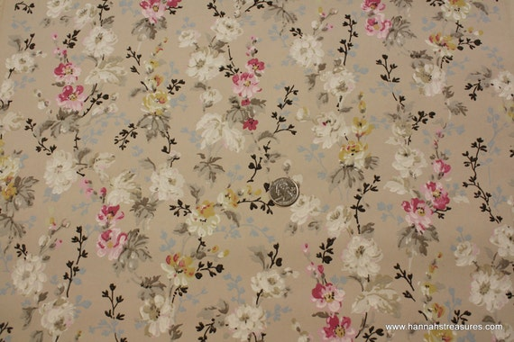 1920's Vintage Wallpaper Romantic white and pink small roses on little branches
