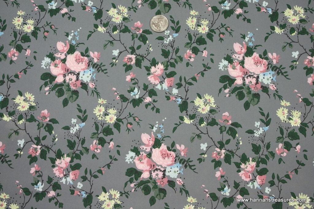 1940's Vintage Wallpaper pink roses