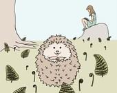 hedgehog art print: among the fiddleheads