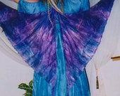 Purple SilK Faerie WINGS Tribal Fusion Belly Dance costume fairy ATS gypsy fantasy washable blue 5 sizes 14 colors