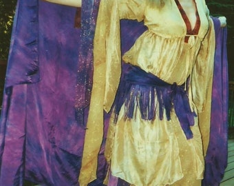 Washable Silk Ghawazee COAT tribal belly dance SCA renaissance gypsy costume 17 colors & 8 sizes