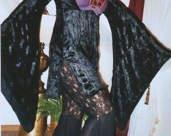 Ghawazee coat DRESS stretch LYCRA VELVET tribal fusion belly dance renaissance costume gypsy 3 sleeve styles 3 necklines