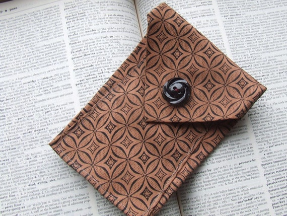 phone case fashioned from black and sunset brown vintage tie