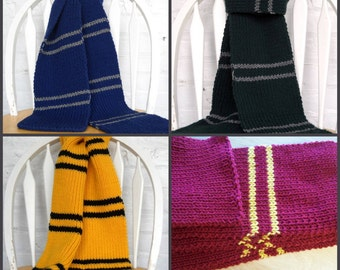 Hogwarts Inspired House Scarf - KNITTING PATTERN