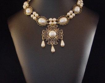 Renaissance Necklace, Medieval Necklace, Tudor Necklace, Medieval Jewelry, Renaissance Jewelry, Elizabethan Jewelry, Lady Rebekka U Pk Color