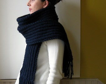 Navy Blue Chunky Knit Scarf, Long, Mens, Womens Scarves, Winter Accessories, Wool Fringes Scarf, Soft, Handmade, Ready to Ship, branda