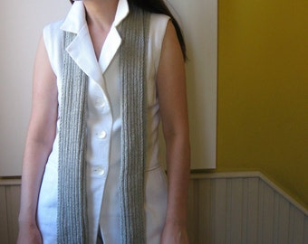 Scarf Knitted in Light Gray Cotton