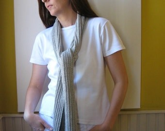 Light Gray Cotton, Knitted Scarf, Summer Fashion, Long Spring Womens Scarves, Mens, Cute, Cotton Shawl, Wrap Scarf, Hand Knit Scarf, branda