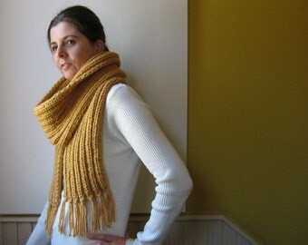 Ochre Scarf, Chunky Knit Scarf, Wrap Scarf, Fringes Scarf, Winter Scarf, Mens Scarf, Womens Scarves, Fashion Accessories, Hand Knit Scarf