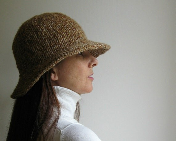 Cloche Hat Tweed Brown Hand Knitted