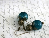 Teal and Antique Gold Bauble Earrings