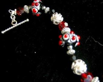 Drama Queen - Lampwork glass and Swarovski Crystal Bracelet -