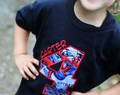 Super Hero Birthday Shirt made with Spiderman Fabric