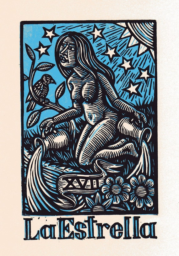 Star Tarot Linocut Art Print