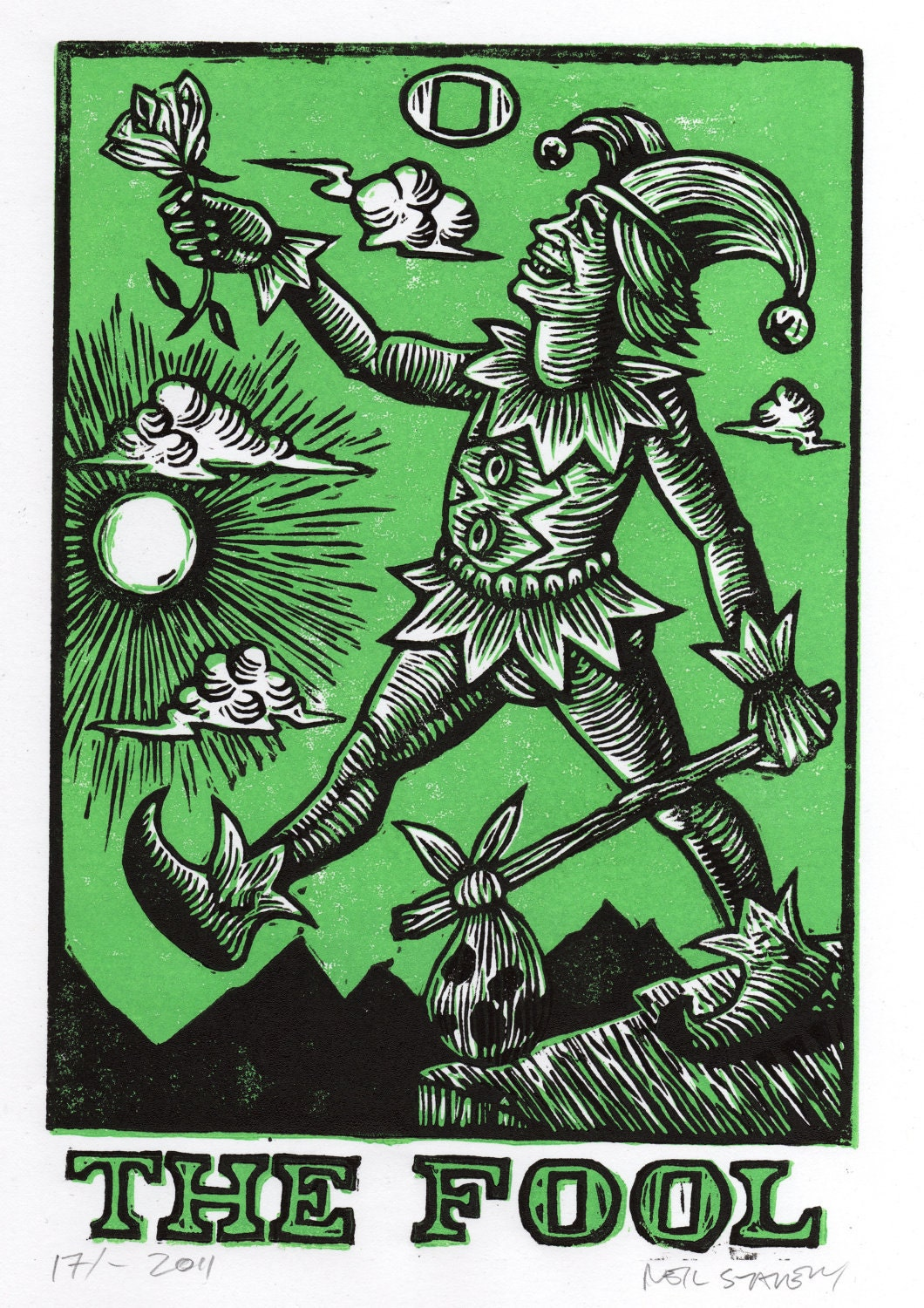 The Fool: The Fool Tarot Linocut Art Print