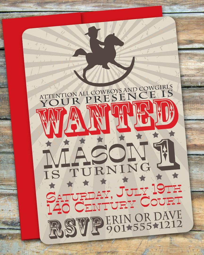 Cowboy First Birthday Invitation By Swankypress On Etsy