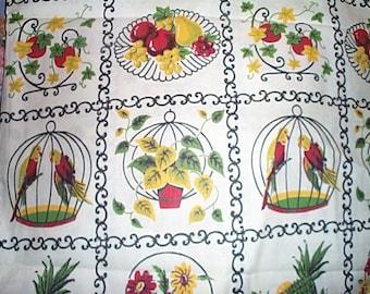 Vintage 60's Printed Cotton Fabric Parrots, Plants, Fruit 1 7/8 yds.