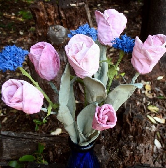 Fabric Tulips and Cornflowers Bouquet