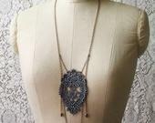 lace necklace -SIRI-  (dusky grey) - long necklace - mothers day