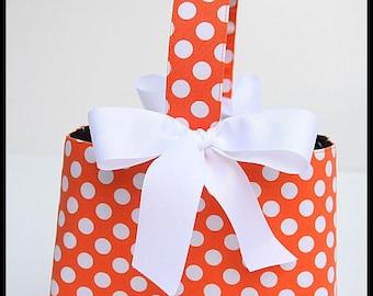 Custom Boutique Halloween Orange DotTrick or Treat basket