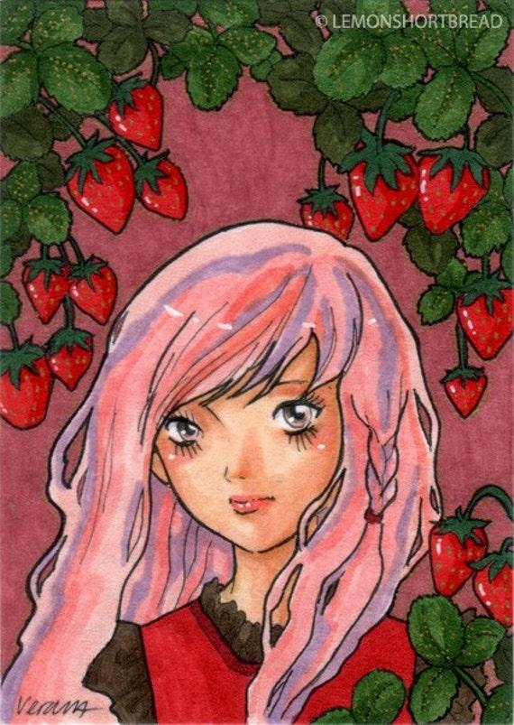 Original ACEO Strawberry Girl Art Illustration, Pop Art Pink Red Fruits Anime