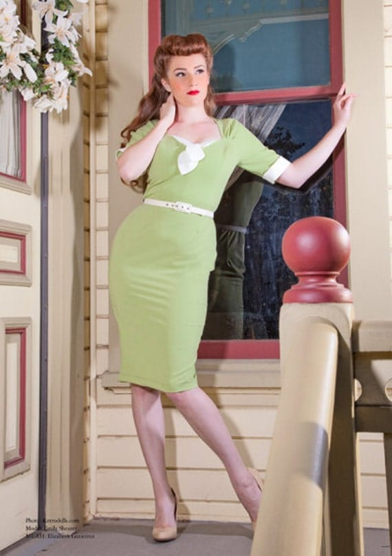 In stock pinup girl dress Gwen rockabilly clothing 1940s style soft stretch tropical weight Green