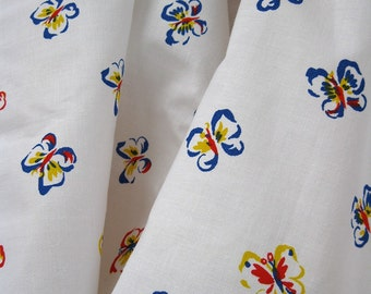 5 Yards 70s Butterfly Vintage Fabric