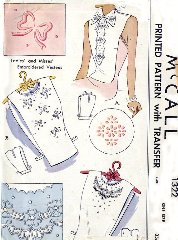 Vintage 40s Ladies Embroidered Vestee Dickey Pattern - McCall 1322 - Three Styles - One Size - Uncut FF