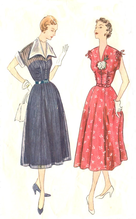 1950s Vintage Plus Size Dress Pattern - Simplicity 3262 - Sheer Bodice Overlay - Deep V Neckline - Detachable Collar / Cuffs - Bust 40