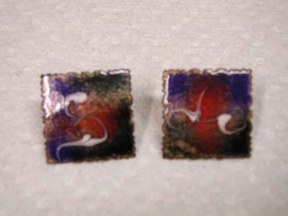 Vintage Square Copper Enamel Pierced Earrings