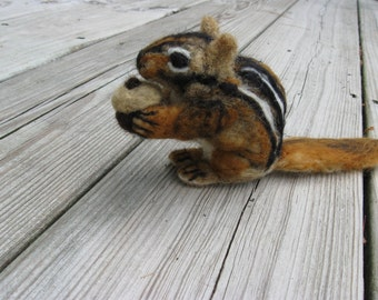 Needle Felted Chipmunk with Acorn Sculpture by artist Karen Clothier