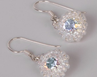 Sterling Silver Round Bridal Earrings with Swarovski Crystal Stone Beaded with White Seed Beads. Small Beaded Dangling Earrings. S99