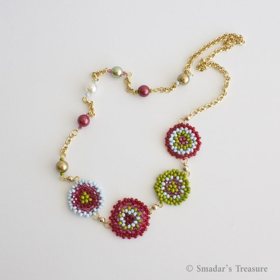 Asymmetrical Gold Necklace with Pearls and Muliticolor Beadwoven Round Flowers. Long Chain Necklace. Colorful Necklace. S130