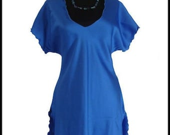Miss Elaine Nightgown Cobalt Blue Lettuce Edge Ruffled High Cut Miss Elaine Satin Nightie Tunic Top S M