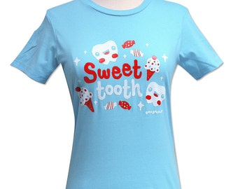 Sweet Tooth T-Shirt - Kawaii Teeth Candy Ice Cream - Size Small - CLEARANCE
