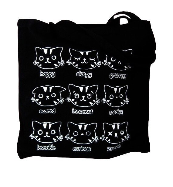 Black Canvas Tote Bag - Moody Cats Print