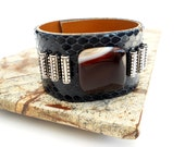Navy Blue Snakeskin Bracelet, Beaded Leather Jewelry, Leather Accessories for Women