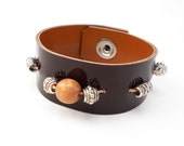 Brown Patent Leather Bracelet with Beads, Handmade Leather Jewelry, Women's Leather Accessories