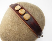 Brown Leather Wristband with Yellow Jade Stone Beads, Handmade Leather Jewelry, Women's Leather Accessories, Rawhide