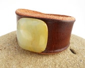 Brown Leather Cuff with Large Jade Stone Bead