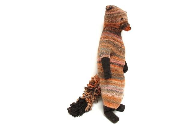 Fantastic Red Fox, Hand knit fox, ooak fox, original design by Marianne Wille