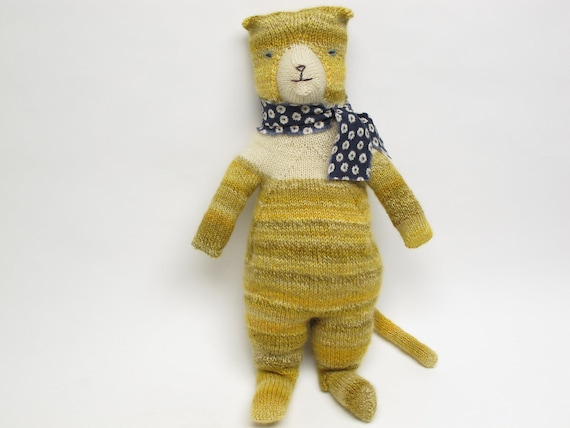 Popcorn The Cat, a hand knit cat doll