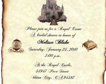 qty 50 Cinderella FairyTale Ancient Castle Wedding Invitation Scrolls