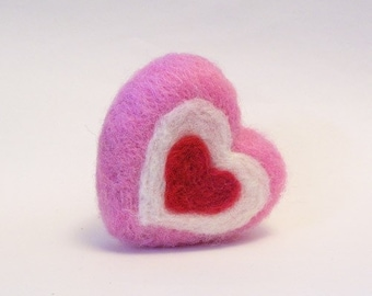 Needle Felted Valentines Day Heart Decoration - Felt Hearts - Felted Valentine - Pink Red and White Heart - Made to Order