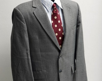 Men's Suit / Vintage Upcycled Grey Suit with Screen Printed Sparrow /  Size 42