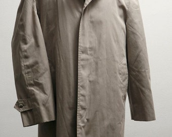 Size 42S Vintage London Fog Overcoat Upcycled with Screen Printed Anchor