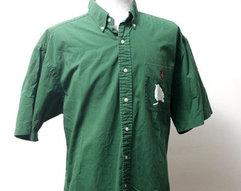 Men's Shirt / Upcycled Short Sleeve Shirt with Screen Printed Sparrow / Size Large
