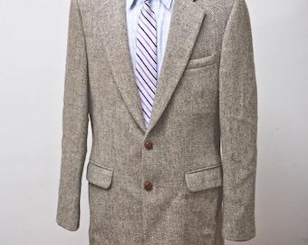 Size 42 Vintage Harris Tweed Wool Herringbone Sport Coat