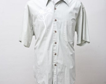 Large Upcycled Short Sleeve Dress Shirt with Screen Printed Tree