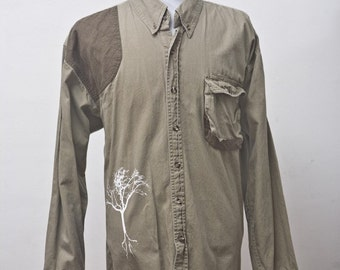 Men's Shirt / Upcycled Shooting Shirt with Screen Printed Tree / Size XL